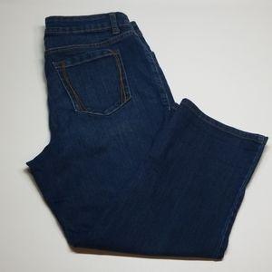 "CROFT /& BARROW Women/'s Straight-Leg Denim Skimmer Pants /""MED STONE/"" Size XL NWT"